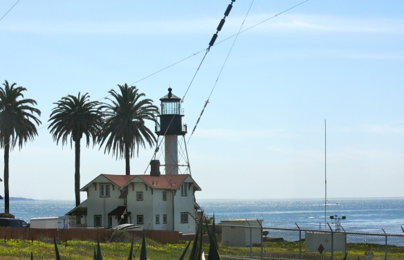 The lighthouse in use today.  It sits just above sea level and below the fog layer.