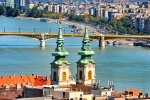 Church spires against the Danube River as seen from the Fisherman's Bastion in Budapest.