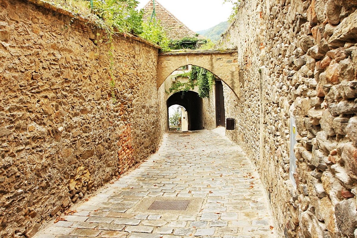 Medieval walls line a street in the village of Durnstein, Austria