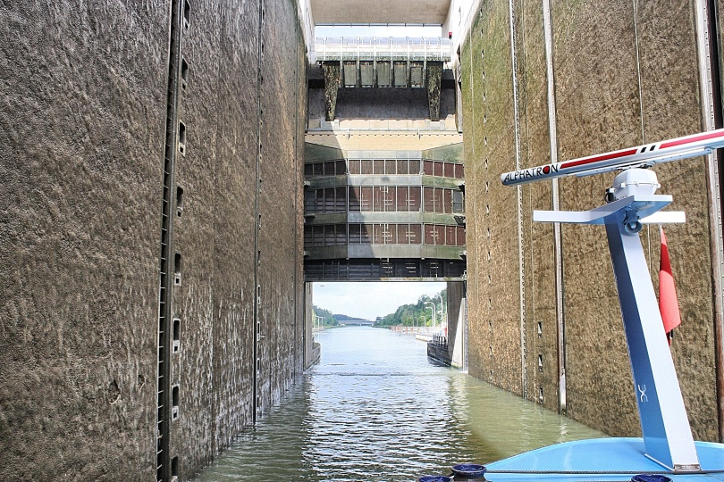 The walls of a lock on the Rhine Main Canal in Germany.  This lock gave an 80-ft elevation change