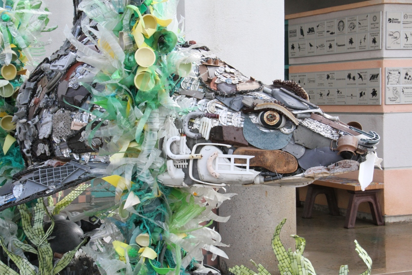At the Chula Vista Nature Center a statute made from garbage picked up in the marshes emphasizes conservation