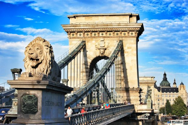 The Chain Bridge spanning the River Danube in Budapest