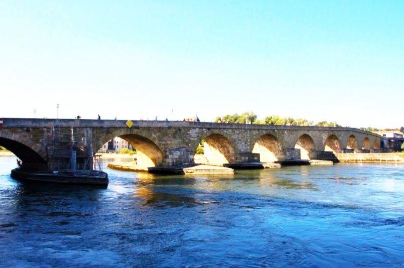 Stone bridge built in 1200 in Regensberg, Germany