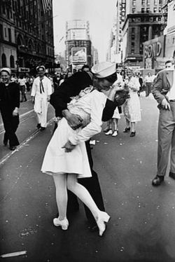 The V-J Day in Times Square photograph by Alfred Eisenstaedt which was published in Life Magazine in 1945.  Photo courtesy of Wikipedia