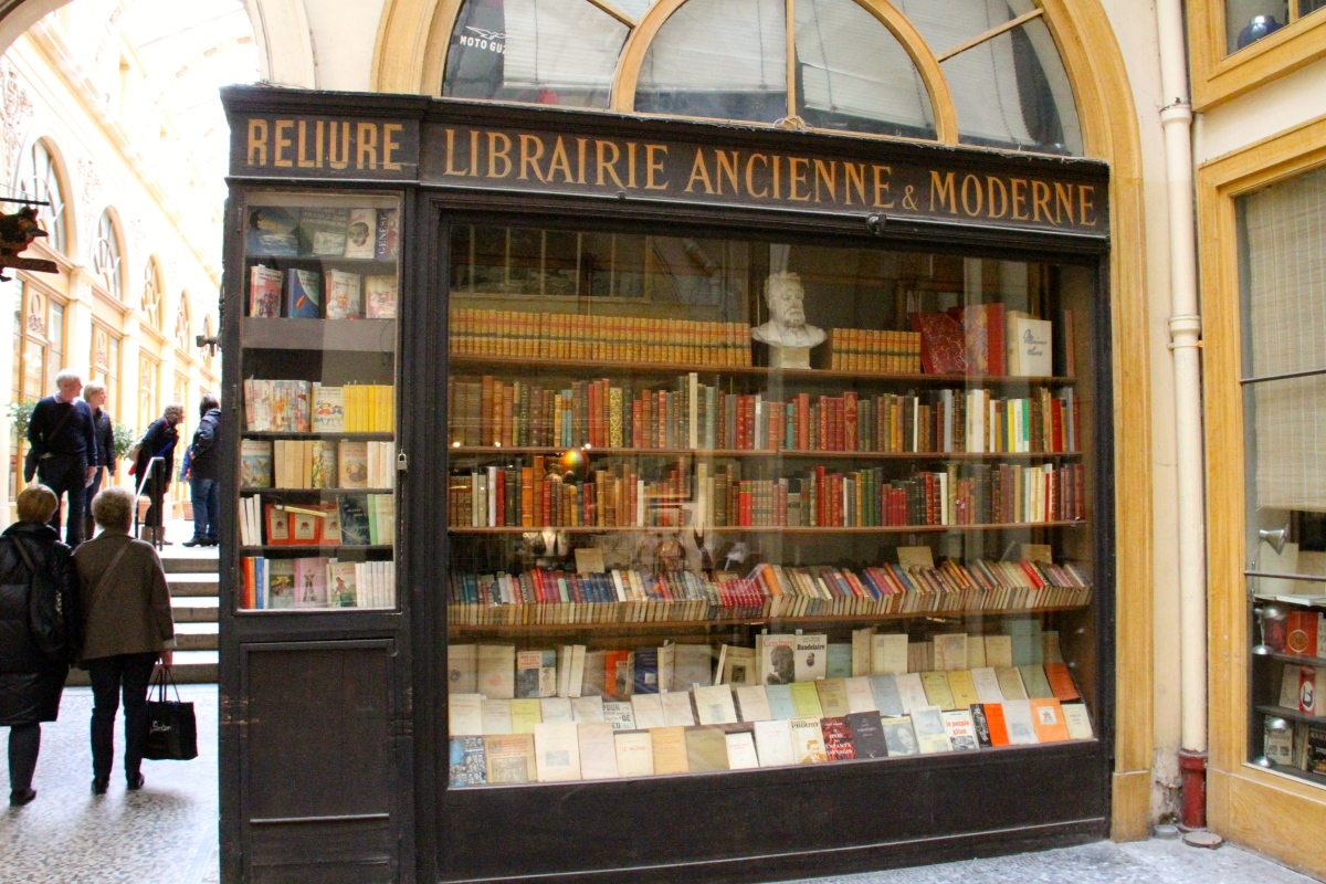 The passages are filled with interesting shops like this one selling both new and antique books in dozens of languages.  A great place for a reader!