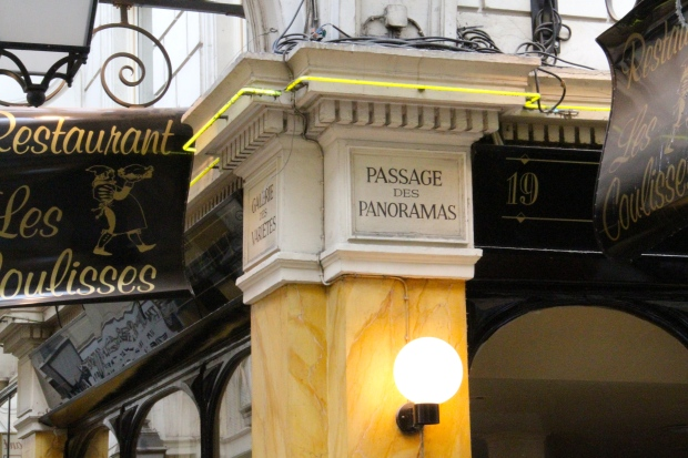Passages des Panoramas was built in 1800 and was named for upper rooms that offered panoramic views of Paris.  The passageway is filled with shops, small restaurants, and wine bars.