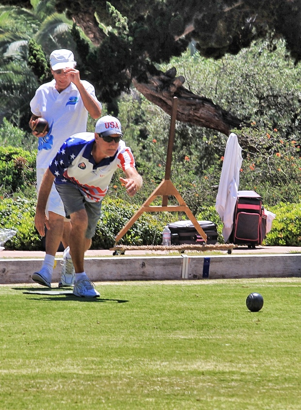 Eschewing the traditional white bowling attire, this Team USA player consistently got his bowl closer to the jack than the others.  I think his name was actually Jack.