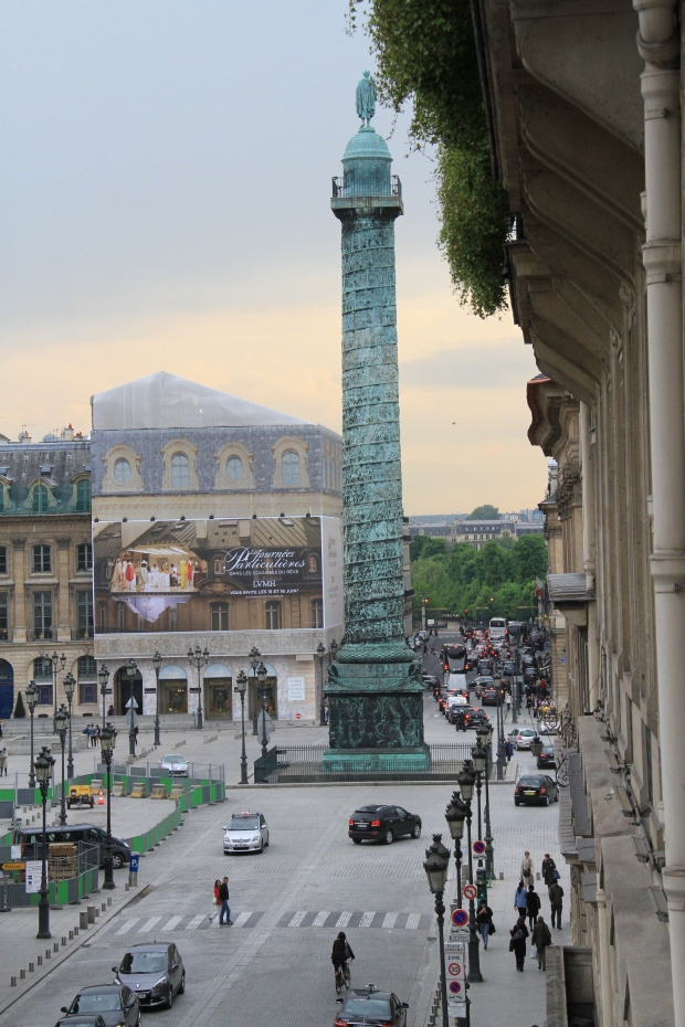 The view of Plaza Vendome from Kongo's balcony overlooking Rue de la Paix.