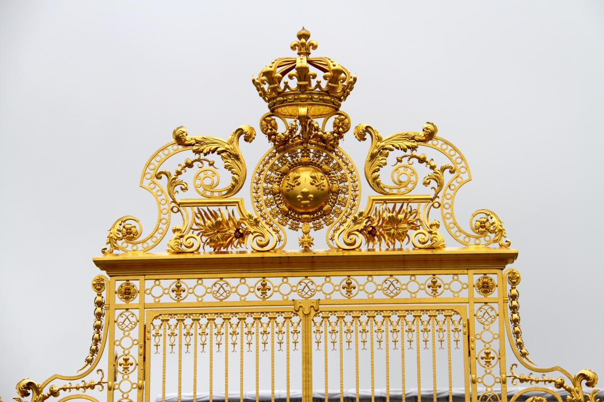 The famous entrance gate to Versailles.  Even on this dreary day it glistened,