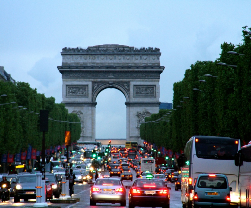 The Arc de Triomphe on a cloudy evening.