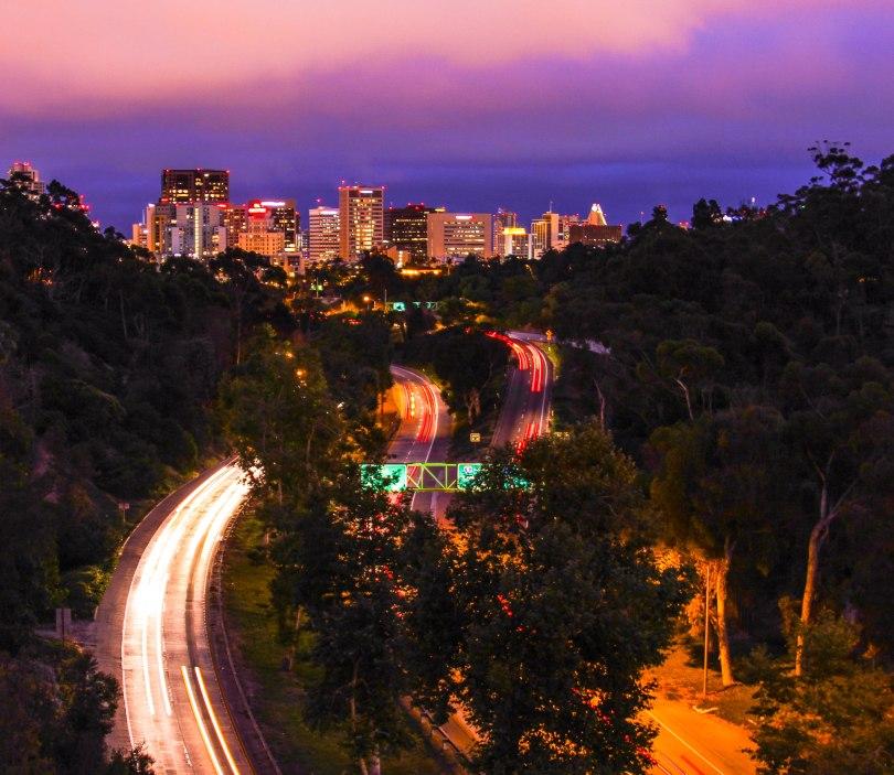 San Diego skyline at night.