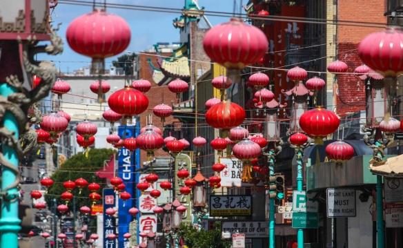 Hanging lanterns on Grant Street, Chinatown, San Francisco