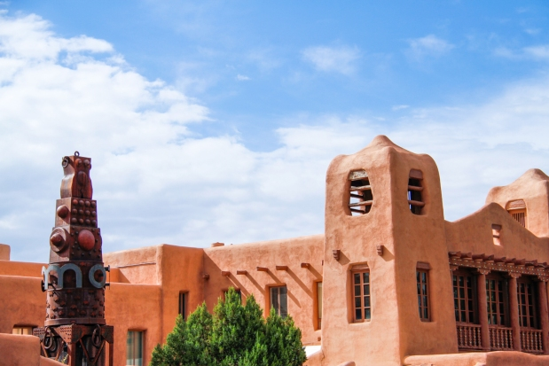 Adobe architecture in Santa Fe, New Mexico