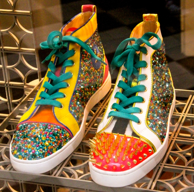 Multicolored shoes for sale in a Paris shop.  (Who actually buys these, anyway?)