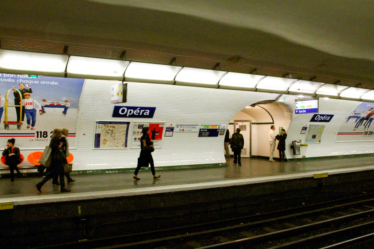 The Opera Metro stop which goes through the center of Paris