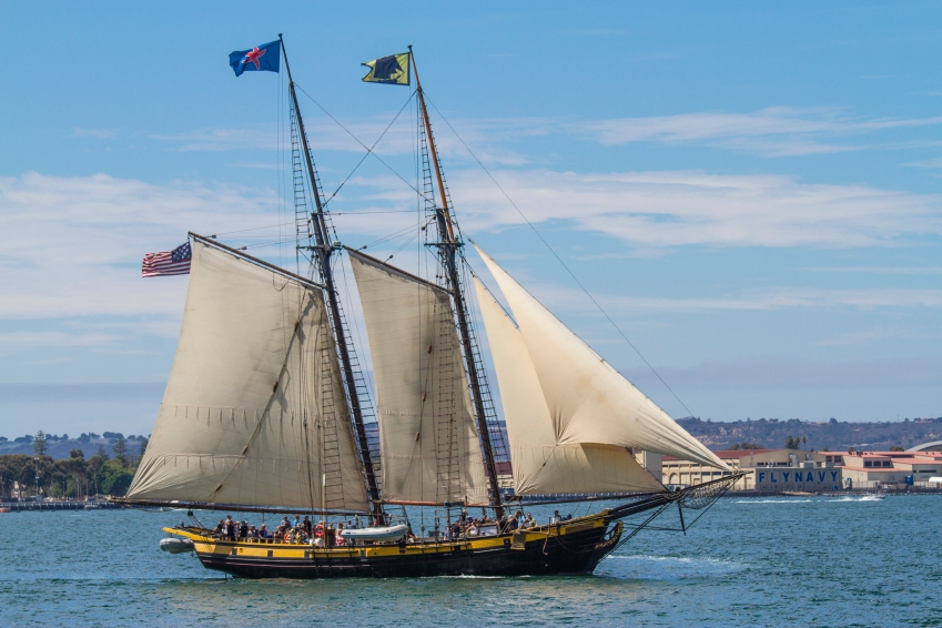 A gaff rigged tall ship