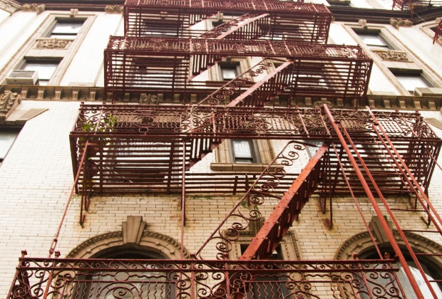 "This study of fire escapes earned Kongo the comment:  ""Interesting architectural perspective.""  Hmm.  A person or object on one of those lower platforms would spice this up.  Otherwise, as one of the staff said:  ""Good photo for a hotel room..."""
