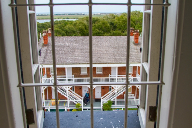 The lighthouse keepers home as seen from one of the tower windows.