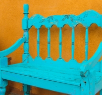 Turquoise & Brown. A bench in Santa Fe