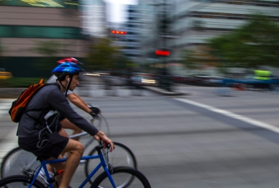 Cyclists on West Side Highway, New York City
