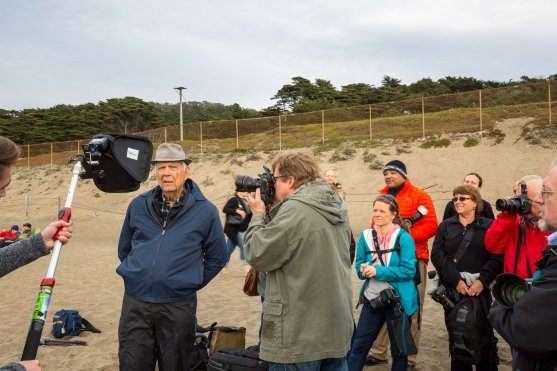 Joe conducting a lighting demonstration on Baker Beach just south of the Golden Gate Bridge.