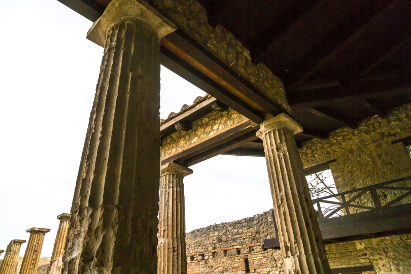 The remains of a Roman building at Pompeii.