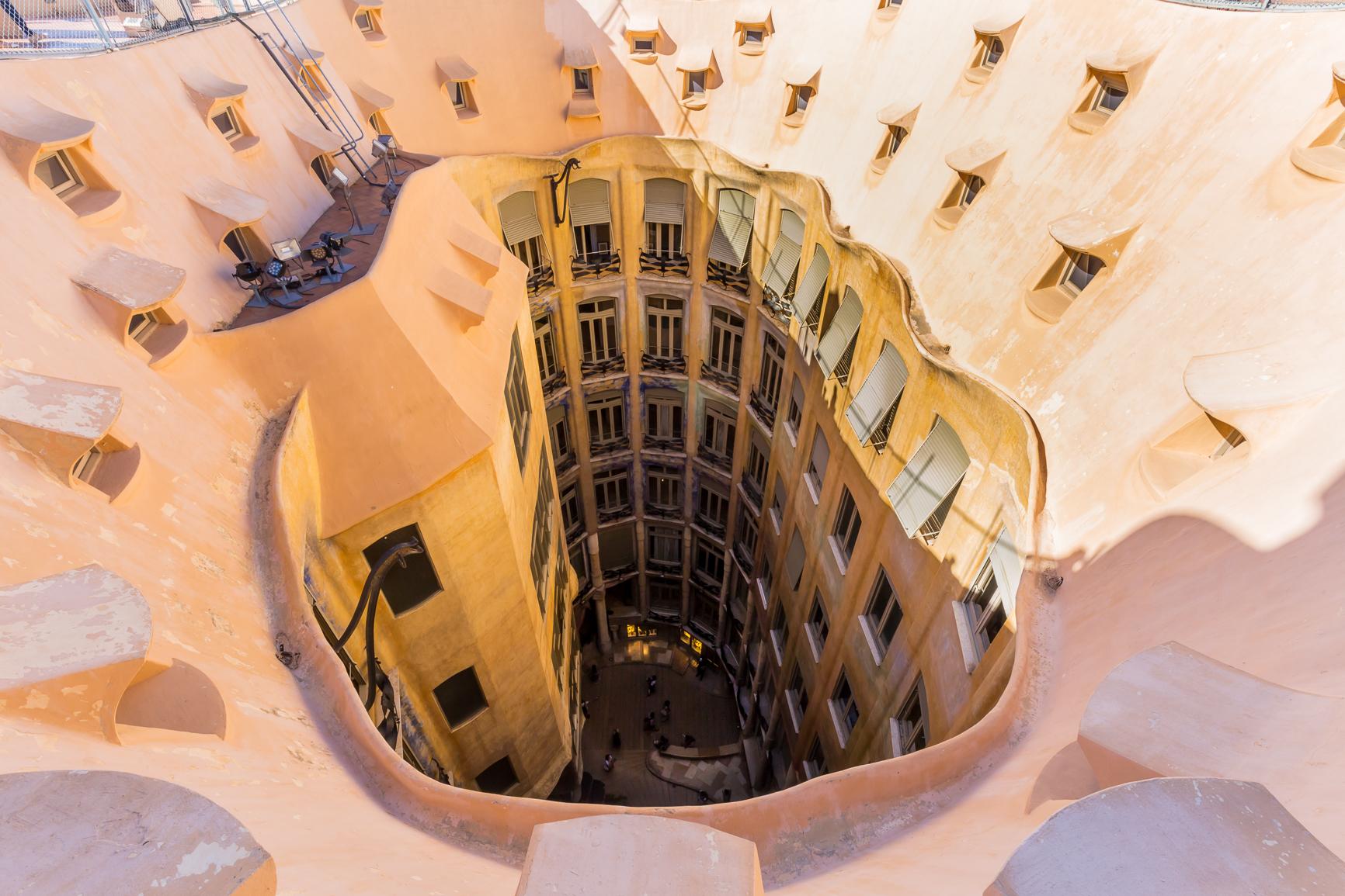 Roof terrace at Casa Mila Barcelona Stock Photo, Royalty ... |Casa Mila Roof