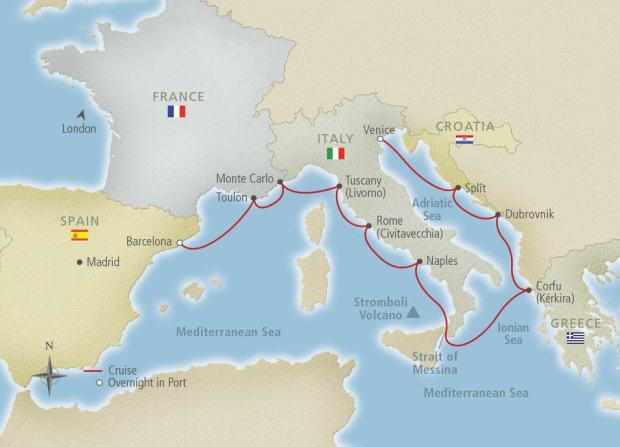 Cruise map from the Viking website.